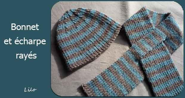 Bonnet et écharpe rayés
