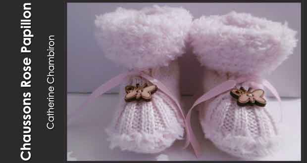 Chaussons rose papillon